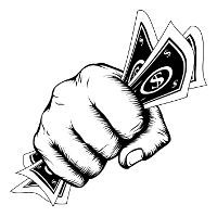 Un poing serrant bien un peu d`argent de papier