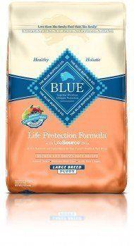 Bleu chiot sac de nourriture de buffle sur fond blanc