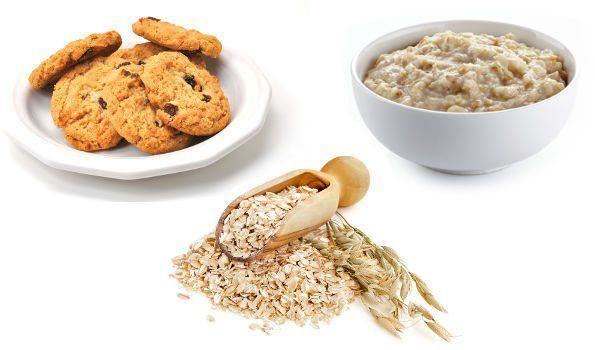 Gruau, des biscuits et du porridge disposés sur un fond blanc