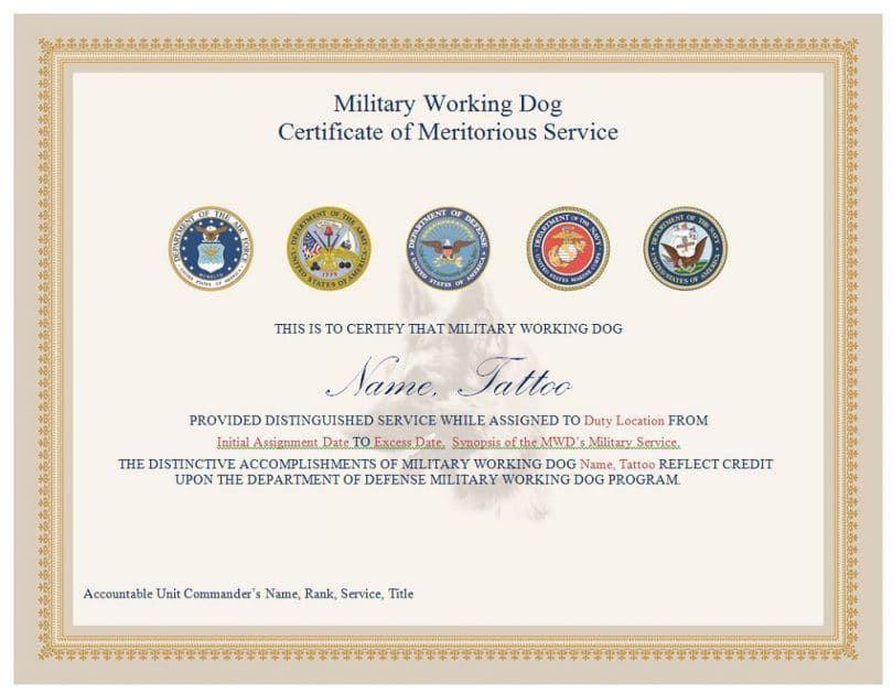 certificat de chien militaire