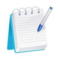 Bleu bloc-notes avec un stylo bleu et blanc