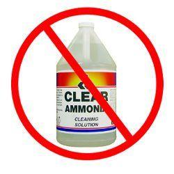Une bouteille d`ammoniac nettoyant à base d`un ne pas utiliser cercle rouge