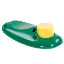 Vert clicker de formation de chien avec un bouton jaune