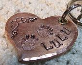 chien Copper Heart-Shaped ID tag