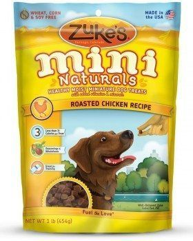Zuke`s Mini Naturals dog treat pouch on white background