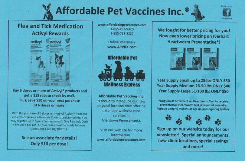 Abordable Pet Vaccine Retour