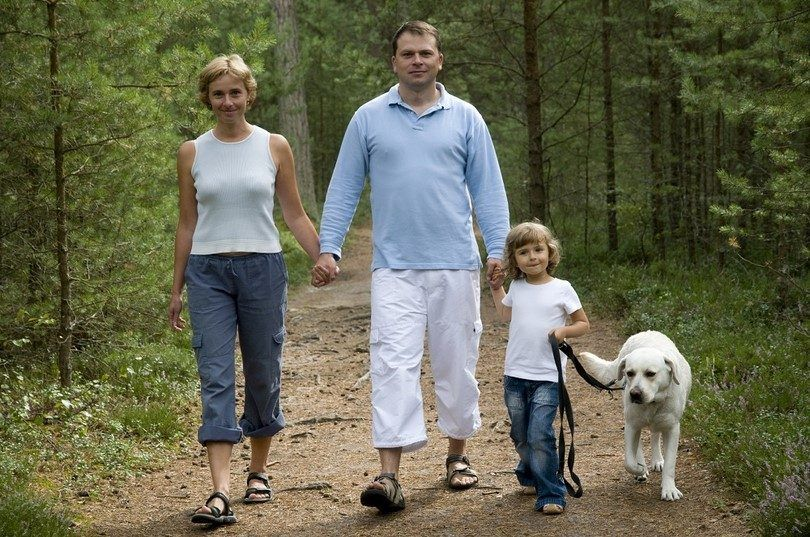 Famille marche chien